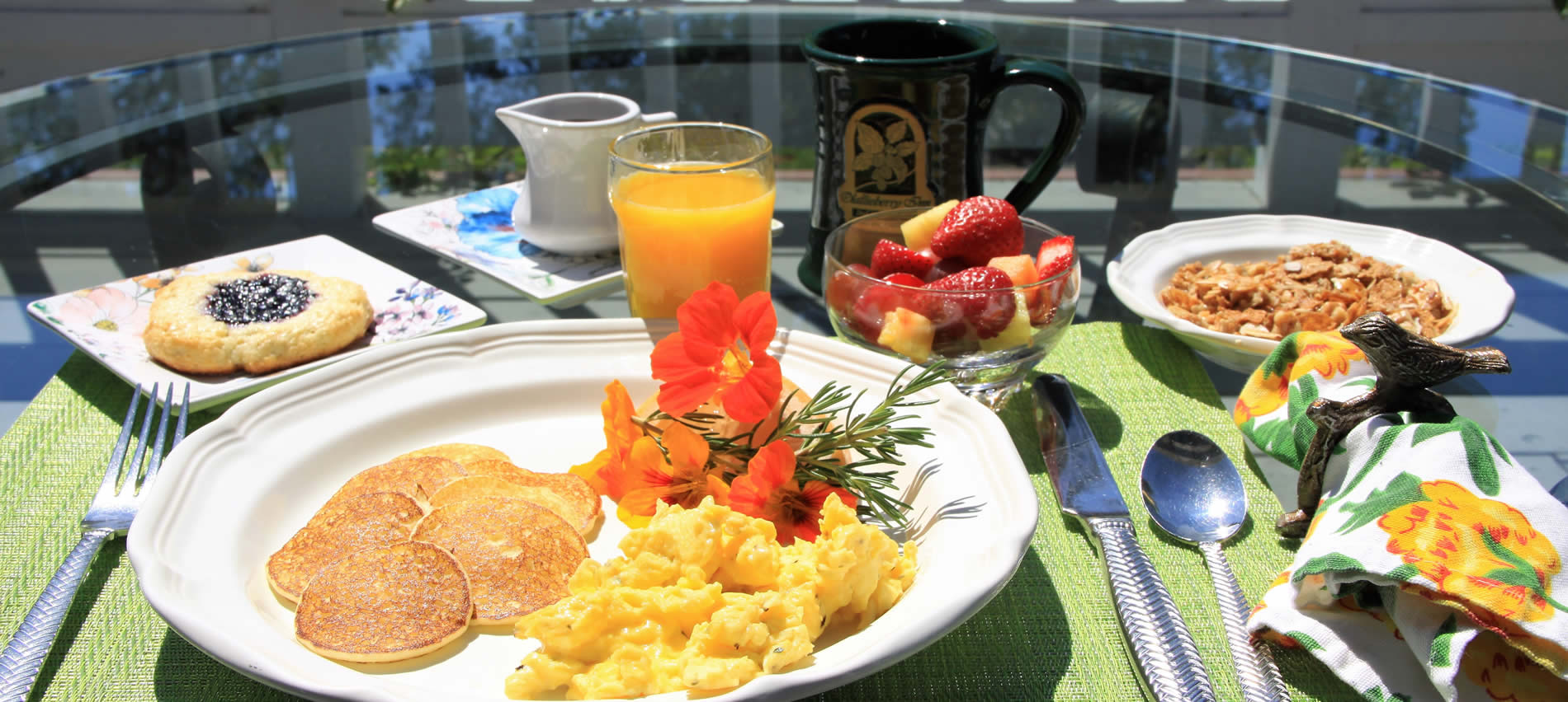 breakfast in outdoor setting cambria ca bed and breakfast boutique hotel