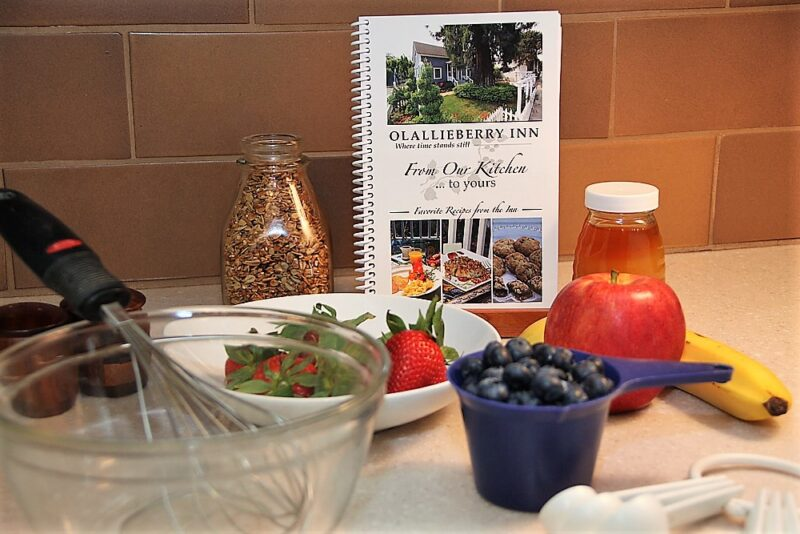 cambria bed and breakfast: cookbook with bowl and ingredients