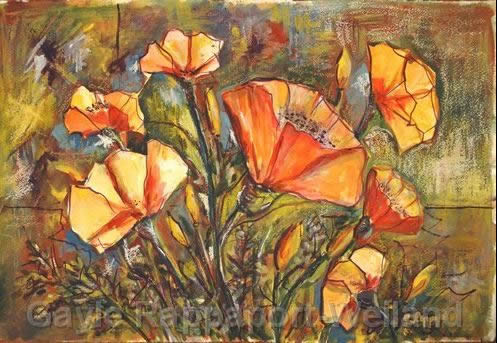 cambria ca artists' workshop at Olallieberry Inn - poppies