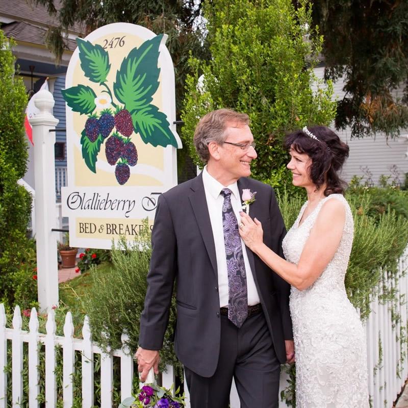 cambria wedding venue olallieberry inn couple photo in garden