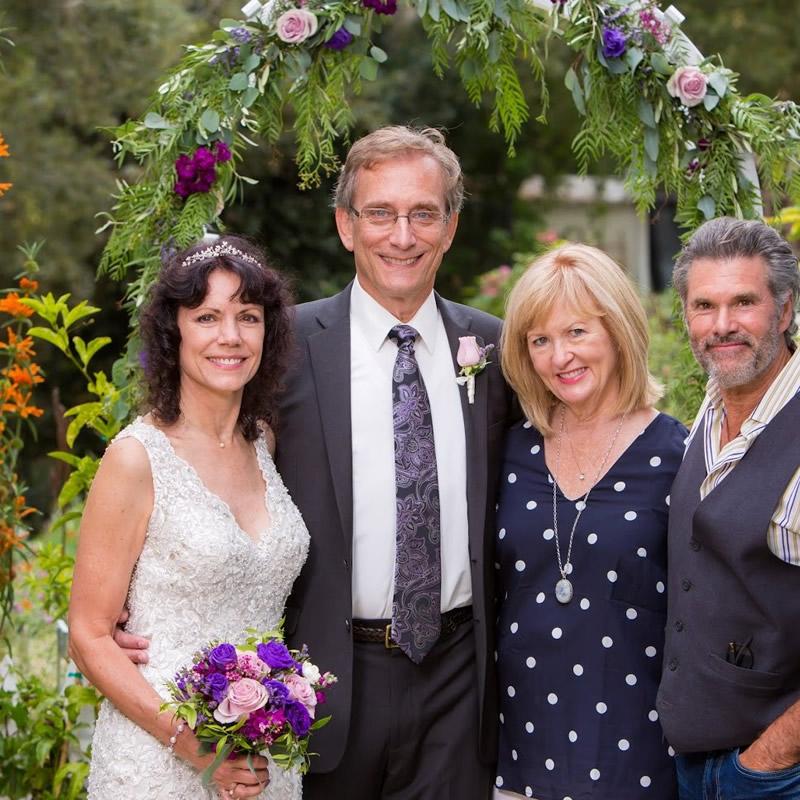 cambria wedding venue olallieberry inn two couples in garden