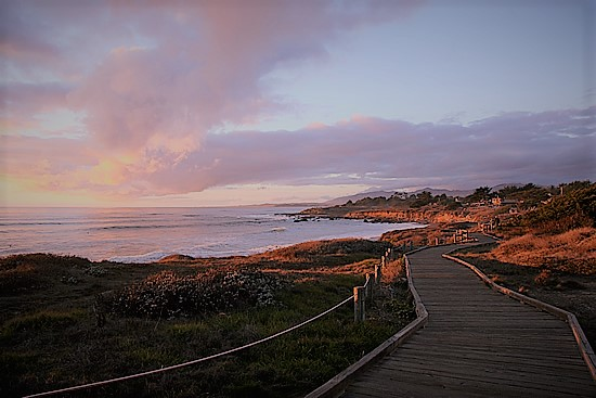 moonstone beach sunset over ocean walking path