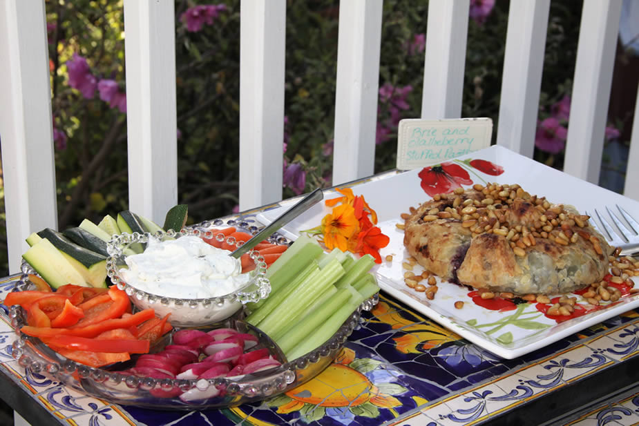 cambria bed and breakfast: breakfast hors d'oeuvres at oallieberry in on back deck